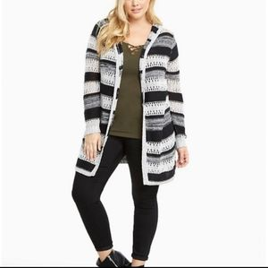 Torrid Open Stitch Striped Hooded Cardigan Sz 1